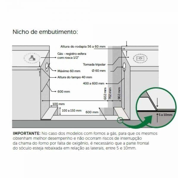 Fogão Lofra 70cm New Maxima 5 Queimadores 10 Funções Forno à Gás - M76GV/C