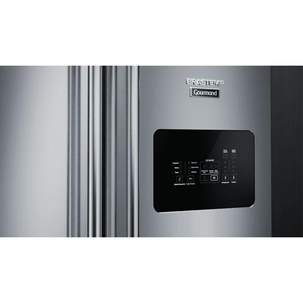 Geladeira Brastemp Gourmand Frost Free Side Inverse 540 litros Inox com Ice Maker 110 volts
